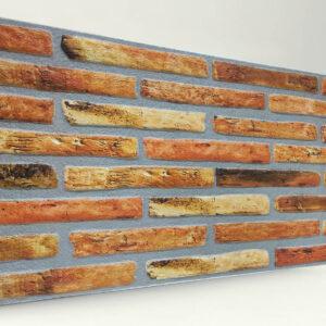 Turuncu İnce Tuğla Desenli Strafor Duvar Paneli