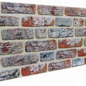 Kırmızı Beyaz Tuğla Desenli Strafor Duvar Paneli