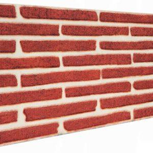 Kırmızı İnce Tuğla Desenli Strafor Duvar Paneli