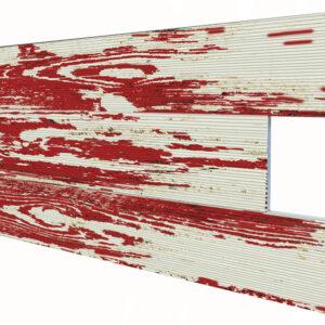 Eskitme Kırmızı İnce Ahşap Desenli Strafor Duvar Paneli