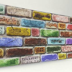 Renkli Tuğla Desenli Strafor Duvar Paneli